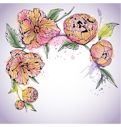 Violet background with watercolor peony flowers vector image