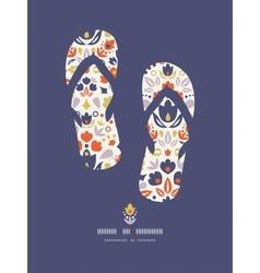 Ornamental folk tulips flip flops pattern vector image