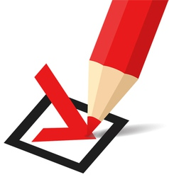 Pencil making a tick in checkbox vector image vector image