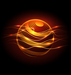 power energy sphere and lights flaws vector image