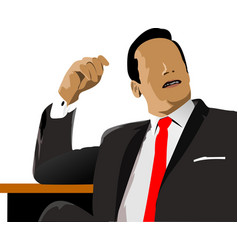 relaxed business man sits on office and speaking vector image vector image