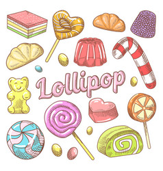 candy and lollipops hand drawn doodle vector image