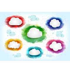 Clouds with watercolor splatters vector image vector image