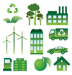 Set of ecology objects vector image