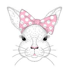 cute bunny portrait Hand drawn rabbit girl face vector image