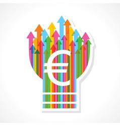 Euro symbol on colorful arrow bulb vector image vector image