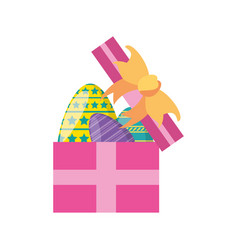 gift box with easter eggs vector image