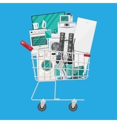 Household devices in shopping cart vector image vector image