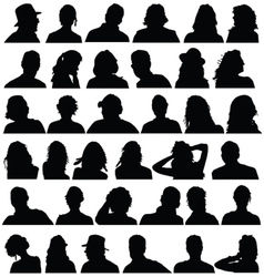 people head black silhouette vector image