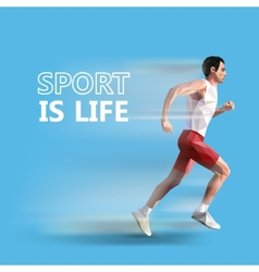 polygonal running man geometric sport is life vector image vector image