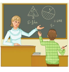 Teacher at blackboard asks children eps10 vector image vector image