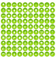 100 gardening icons set green circle vector