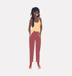 african american girl standing with hands in vector image