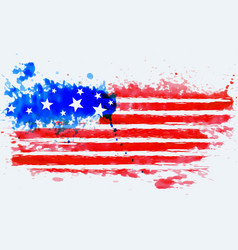 american flag made with watercolor vector image