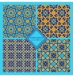 Arabic seamless patterns set vector image