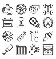 auto repair service icons set on white background vector image