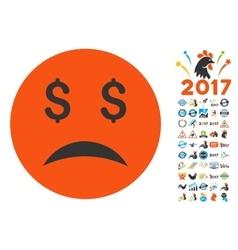 Bankrupt Smiley Icon with 2017 Year Bonus vector