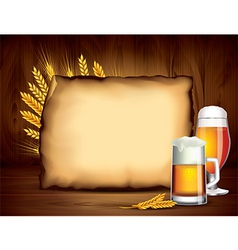 beer paper wood background vector image