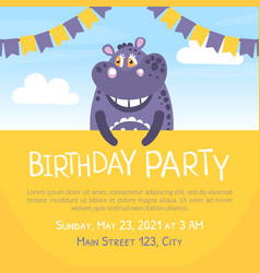Birthday party banner template invitation card vector