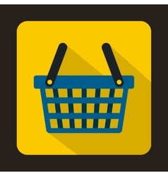 Blue shopping basket icon flat style vector