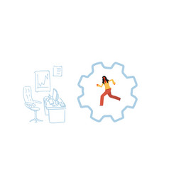 businesswoman running cog wheel deadline vector image