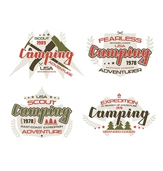 Camping emblems for t shirt vector image