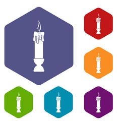 Candle icons set hexagon vector