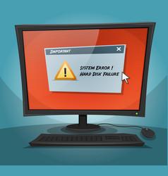 cartoon computer with error message vector image