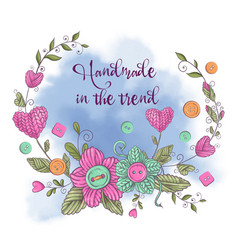 cartoon watercolor wreath knitted elements vector image