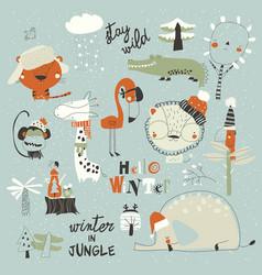 Cartoon wild animals meeting winter in jungle vector