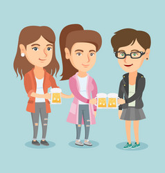caucasian friends clanging glasses of beer vector image vector image