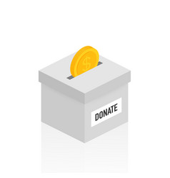 Charity donation concept donate money with box vector