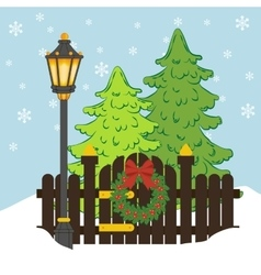 Christmas tree and street light vector image
