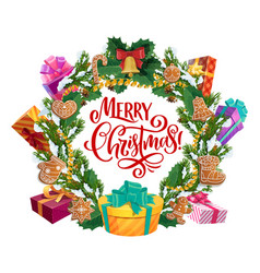 christmas tree gifts cookies and ornaments wreath vector image