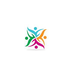 circle group teamwork colorful logo vector image