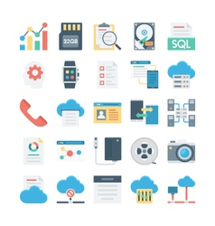 Cloud Data Technology Colored Icons 4 vector