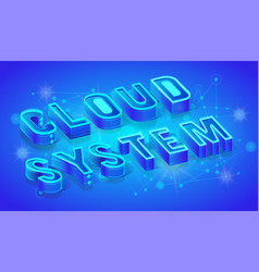 cloud system 3d isometric banner template vector image