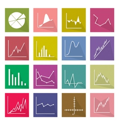 Collection of 16 Business Graph Icons Banner vector image