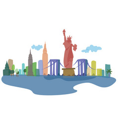 Colored silhouettes of new york city and its vector