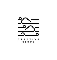 creative cloud with line style logo design vector image