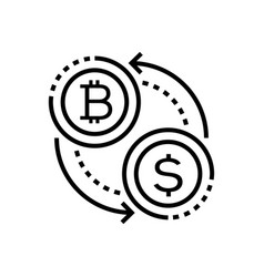 cryptocurrency - line design single isolated icon vector image