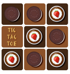 Cup cake and cookie in tic-tac-toe game vector