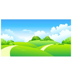 Curved path over green landscape vector image