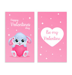 cute card for valentines day with bunny and hearth vector image