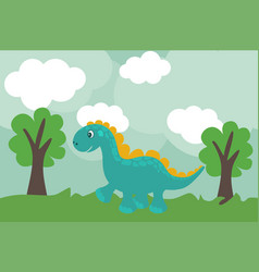 cute cartoon dino in flat style outdoors vector image