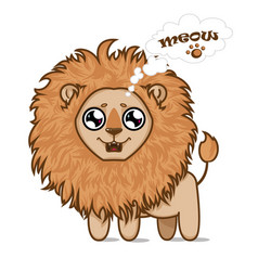 Cute hungry lion vector