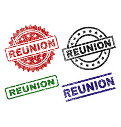 Damaged textured reunion stamp seals vector