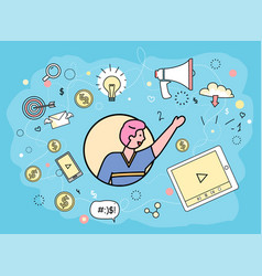 digital marketing and broadcasting icon collection vector image