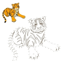 Draw animal tiger educational game vector