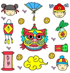 Element Chinese New Year Of Doodle vector